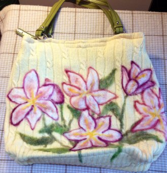 Yellow Felted Wool Purse with Lilies