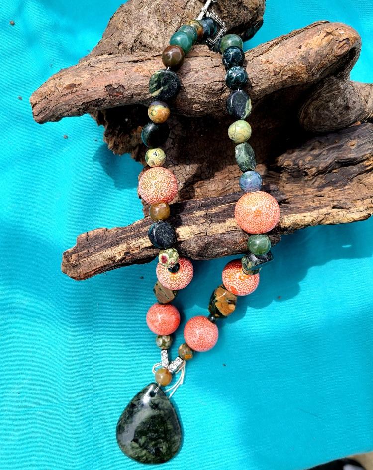 Jade & Coral Semi-Precious Necklace